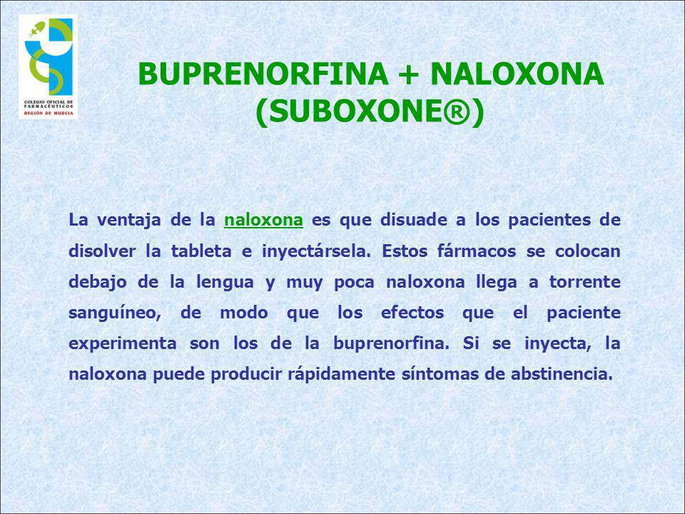 BUPRENORFINA + NALOXONA (SUBOXONE®) La ventaja de la naloxona es que disuade a los pacientes de disolver la tableta e inyectársela. Estos fármacos se