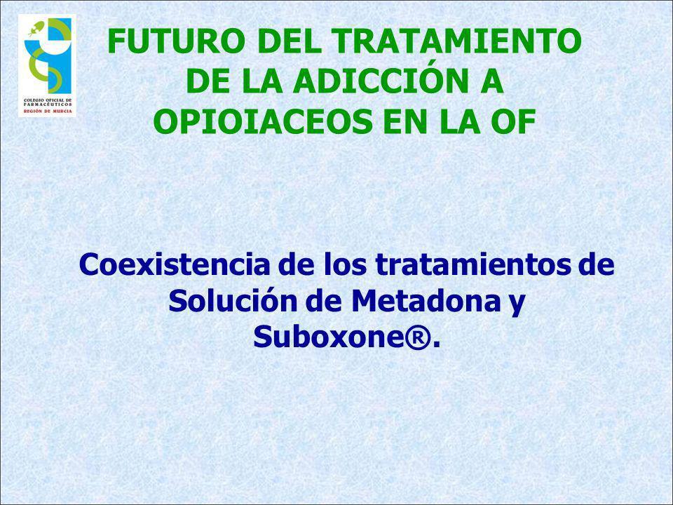 FUTURO DEL TRATAMIENTO DE LA ADICCIÓN A OPIOIACEOS EN LA OF Coexistencia de los tratamientos de Solución de Metadona y Suboxone®.
