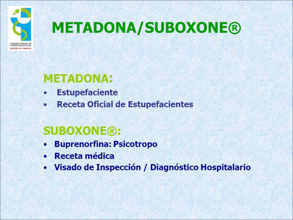 METADONA/SUBOXONE® METADONA : Estupefaciente Receta Oficial de Estupefacientes SUBOXONE®: Buprenorfina: Psicotropo Receta médica Visado de Inspección / Diagnóstico Hospitalario