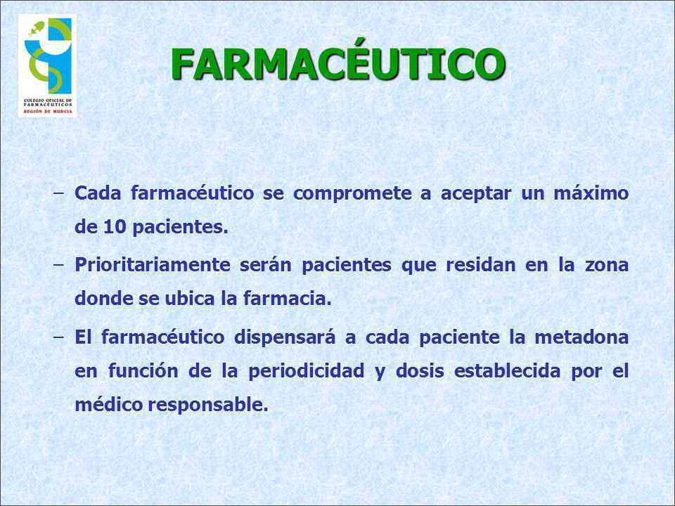 FARMACÉUTICO –Cada farmacéutico se compromete a aceptar un máximo de 10 pacientes. –Prioritariamente serán pacientes que residan en la zona donde se u