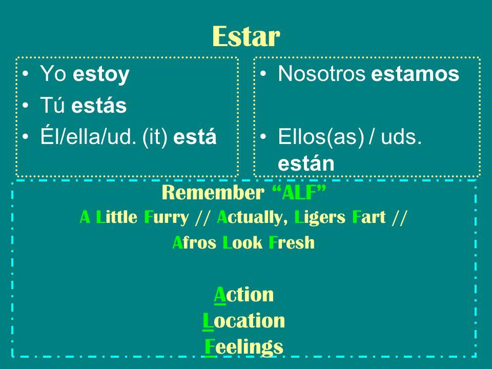 Estar Yo estoy Tú estás Él/ella/ud. (it) está Nosotros estamos Ellos(as) / uds.