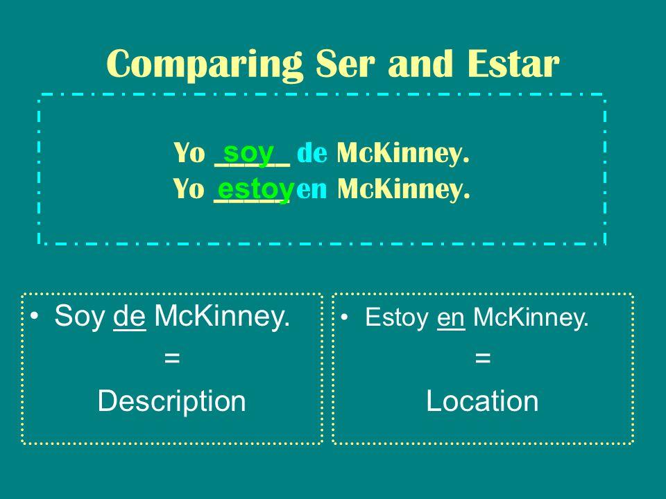 Yo _____ de McKinney. Yo _____ en McKinney. Comparing Ser and Estar Soy de McKinney.