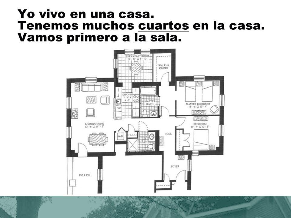 Yo vivo en una casa. Tenemos muchos cuartos en la casa. Vamos primero a la sala.