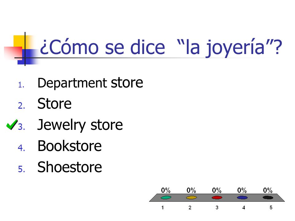 ¿Cómo se dice la joyería 1. Department store 2. Store 3. Jewelry store 4. Bookstore 5. Shoestore