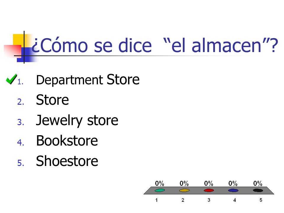 ¿Cómo se dice el almacen? 1. Department Store 2. Store 3. Jewelry store 4. Bookstore 5. Shoestore