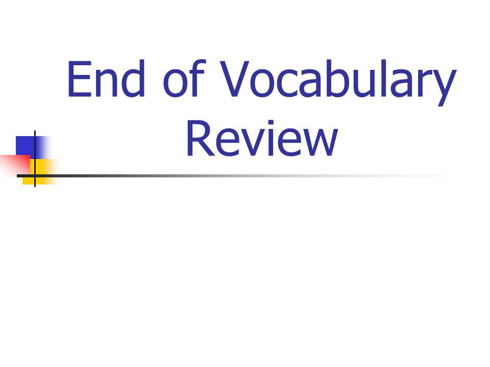 End of Vocabulary Review
