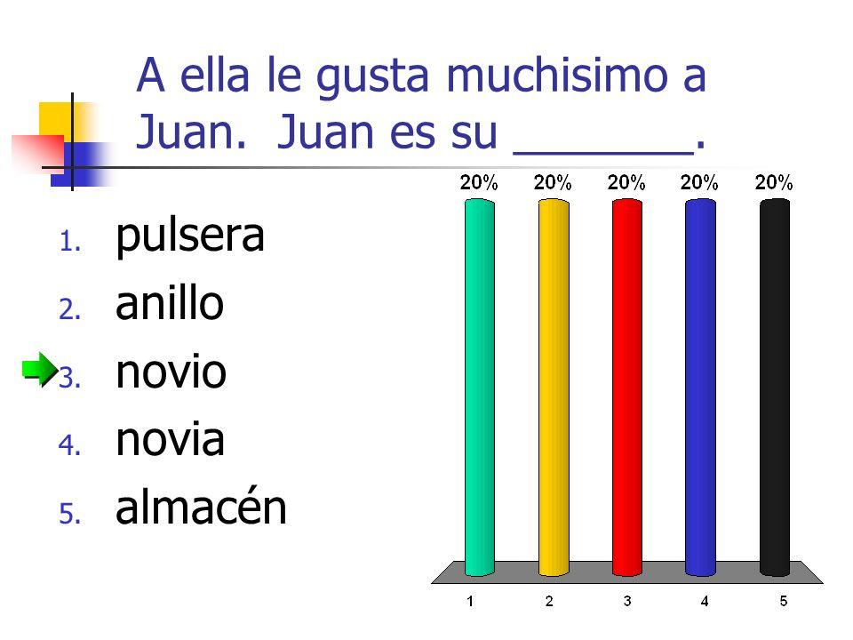 A ella le gusta muchisimo a Juan. Juan es su _______. 1. pulsera 2. anillo 3. novio 4. novia 5. almacén