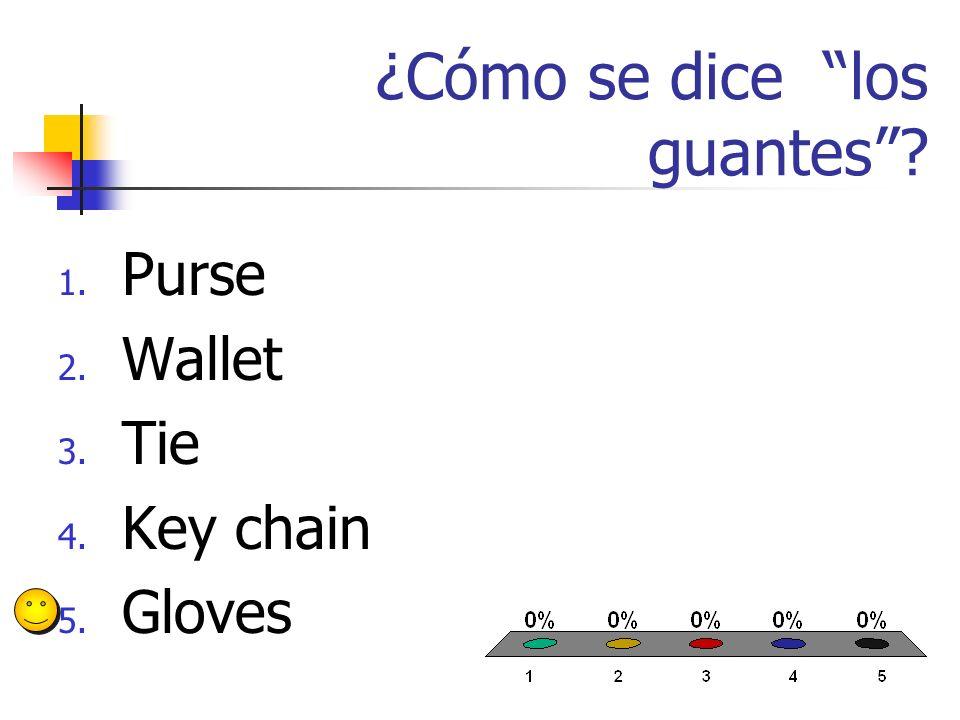 ¿Cómo se dice la cartera? 1. Purse 2. Wallet 3. Tie 4. Key chain 5. Gloves