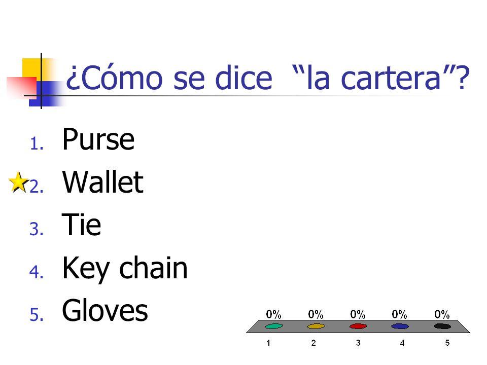¿Cómo se dice el llavero? 1. Purse 2. Wallet 3. Tie 4. Key chain 5. Gloves