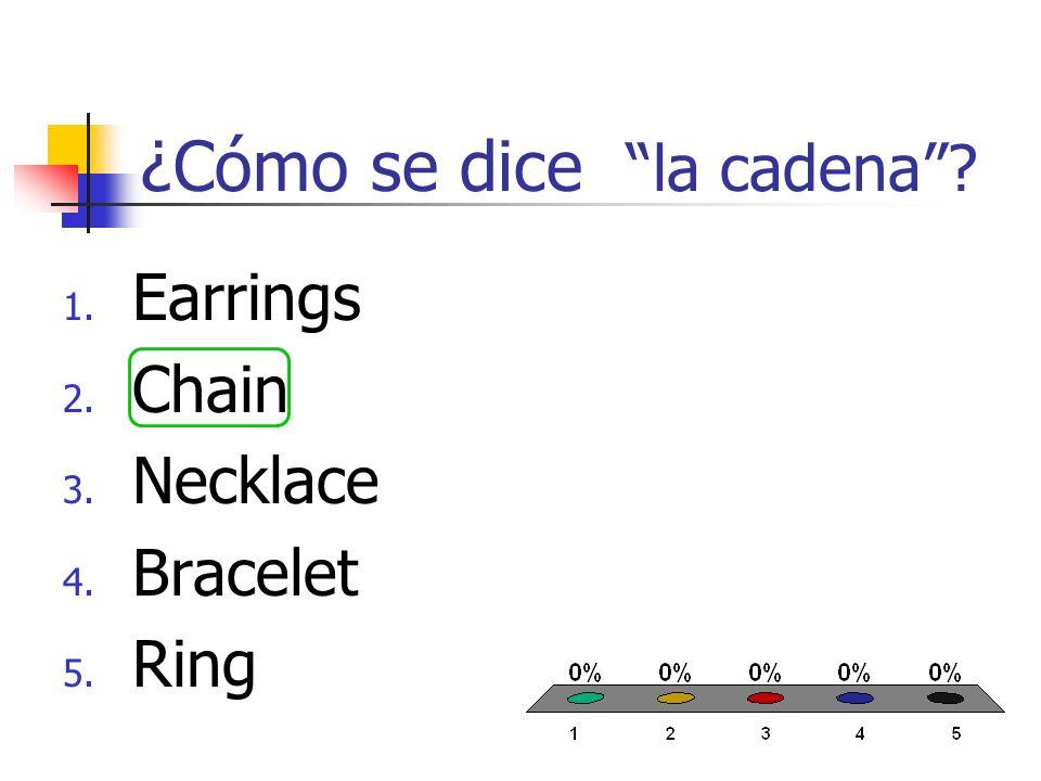 ¿Cómo se dice el anillo? 1. Earrings 2. Chain 3. Necklace 4. Bracelet 5. Ring