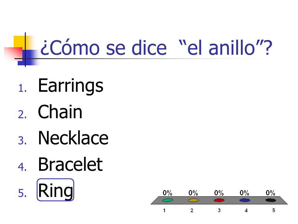 ¿Cómo se dice la pulsera? 1. Earrings 2. Chain 3. Necklace 4. Bracelet 5. Ring