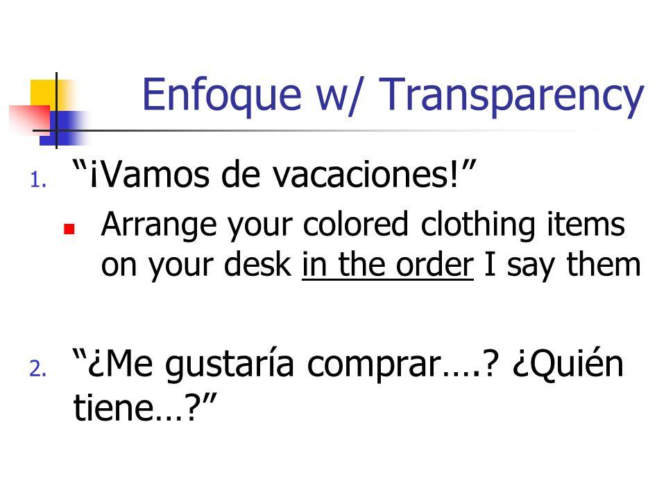 Enfoque w/ Transparency 1. ¡Vamos de vacaciones! Arrange your colored clothing items on your desk in the order I say them 2. ¿Me gustaría comprar….? ¿