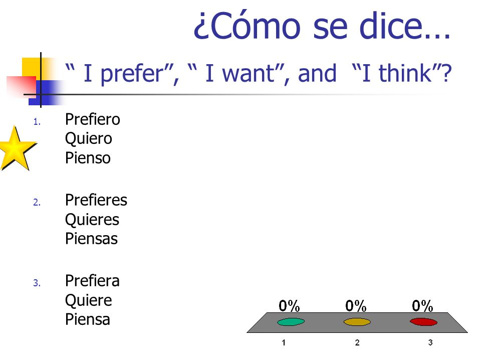 ¿Cómo se dice… I prefer, I want, and I think. 1. Prefiero Quiero Pienso 2.