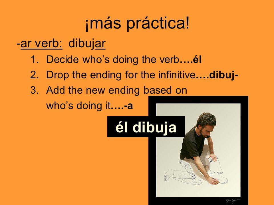 ¡más práctica! -ar verb: dibujar 1.Decide whos doing the verb….él 2.Drop the ending for the infinitive….dibuj- 3.Add the new ending based on whos doin