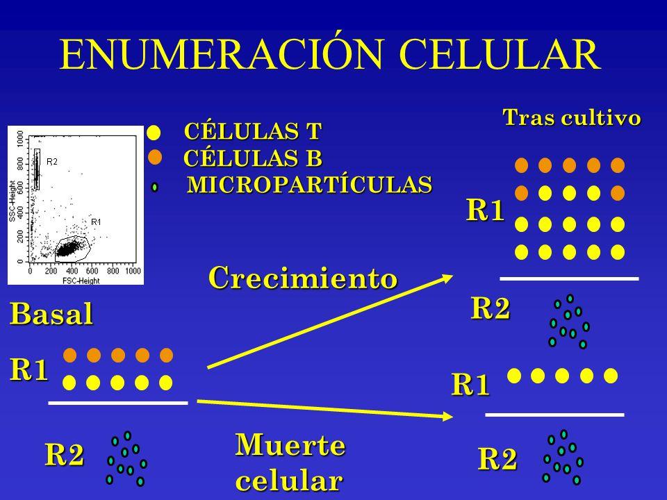 Tras cultivo Basal R2 R1 R1 R2 R1 R2 CÉLULAS T CÉLULAS B MICROPARTÍCULAS MICROPARTÍCULAS Muertecelular Crecimiento ENUMERACIÓN CELULAR