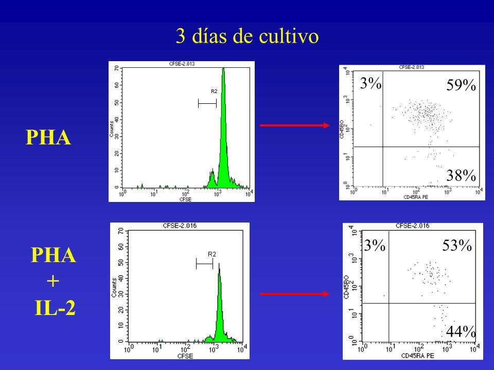 PHA + IL-2 3% 59% 38% 3%53% 44% 3 días de cultivo