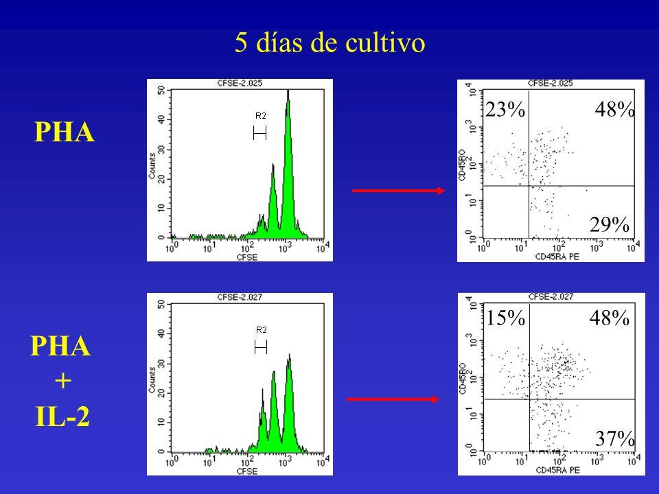 PHA + IL-2 23%48% 29% 15%48% 37% 5 días de cultivo