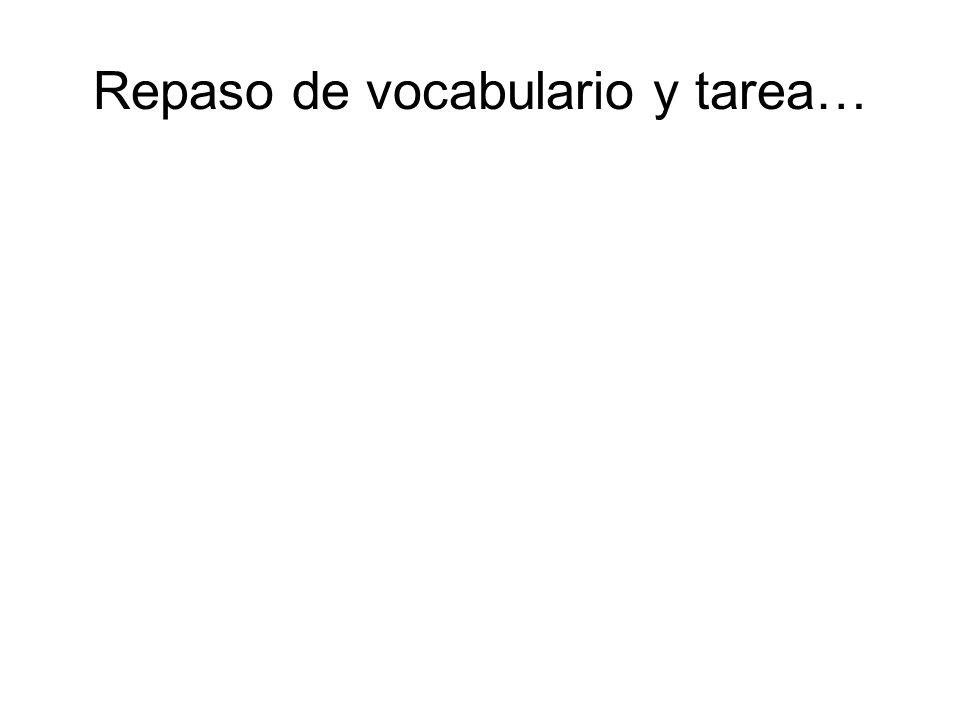 Repaso de vocabulario y tarea…