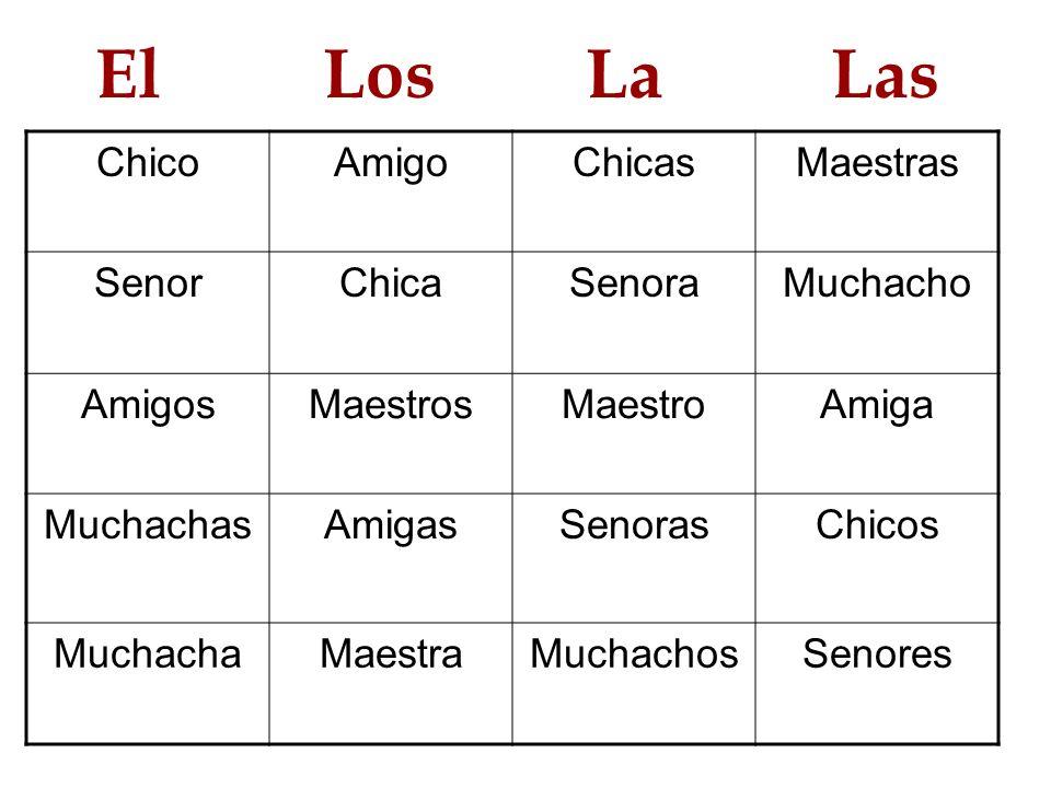 El Los La Las ChicoAmigoChicasMaestras SenorChicaSenoraMuchacho AmigosMaestrosMaestroAmiga MuchachasAmigasSenorasChicos MuchachaMaestraMuchachosSenore