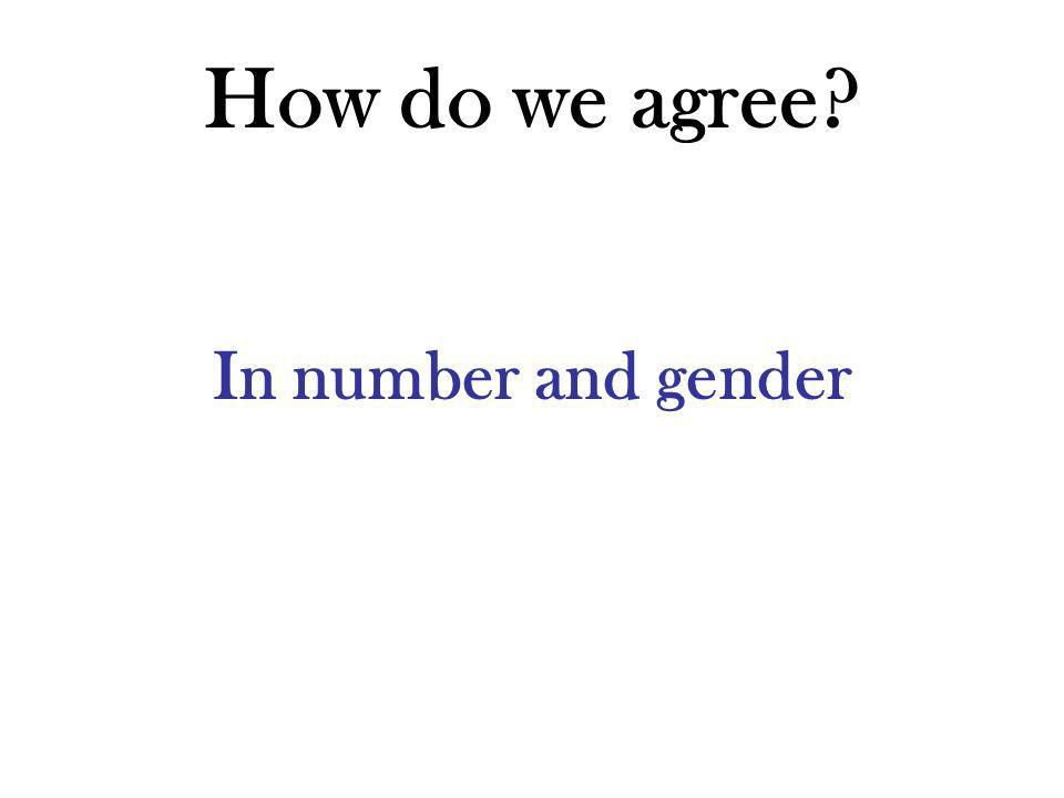 How do we agree? In number and gender