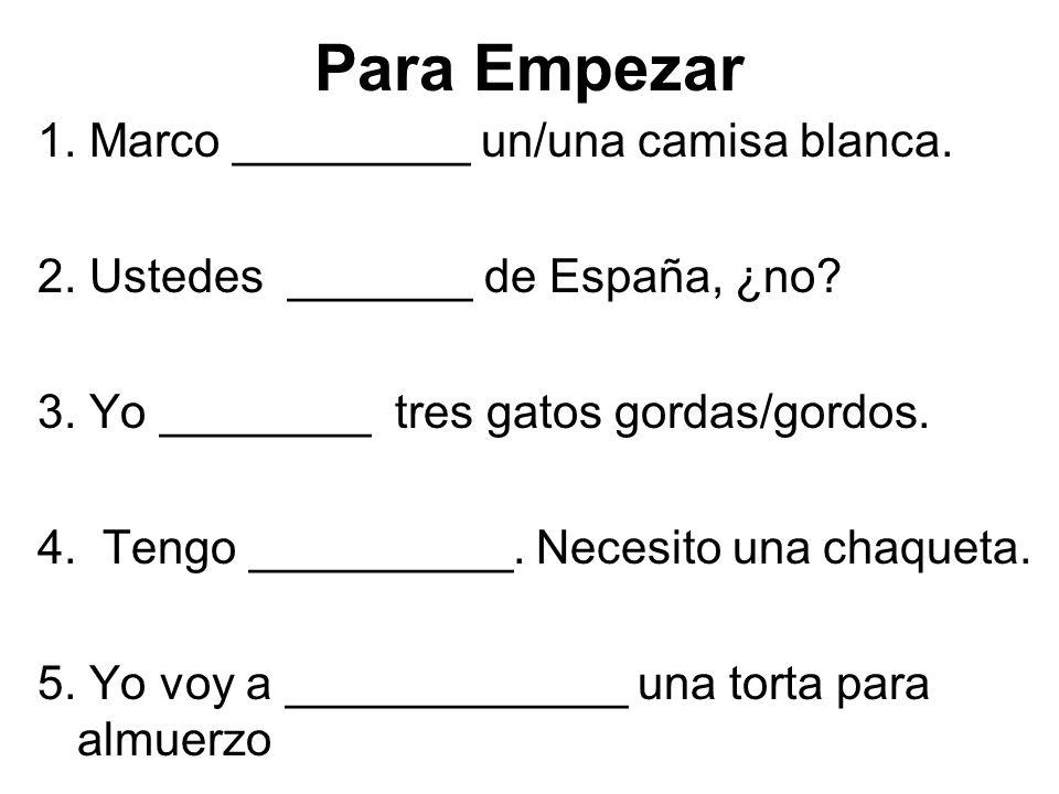 1. Marco _________ un/una camisa blanca. 2. Ustedes _______ de España, ¿no.
