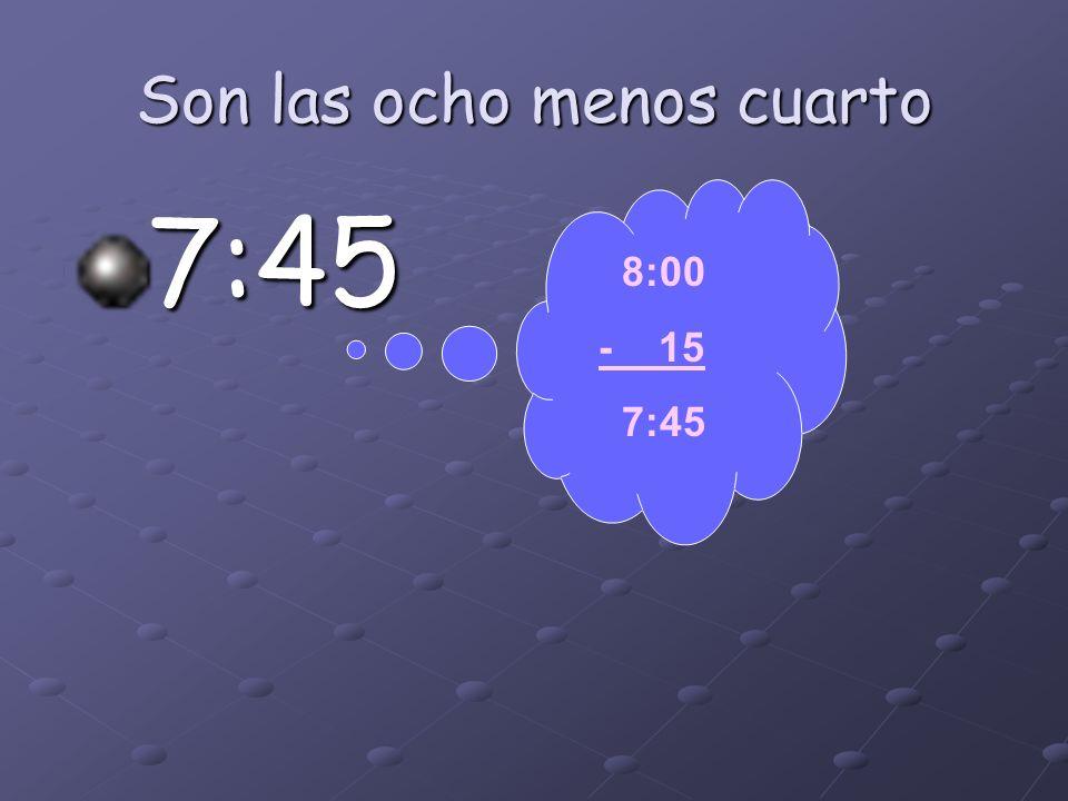 Son las cuatro menos cuarto 3:45 4:00 - 15 3:45