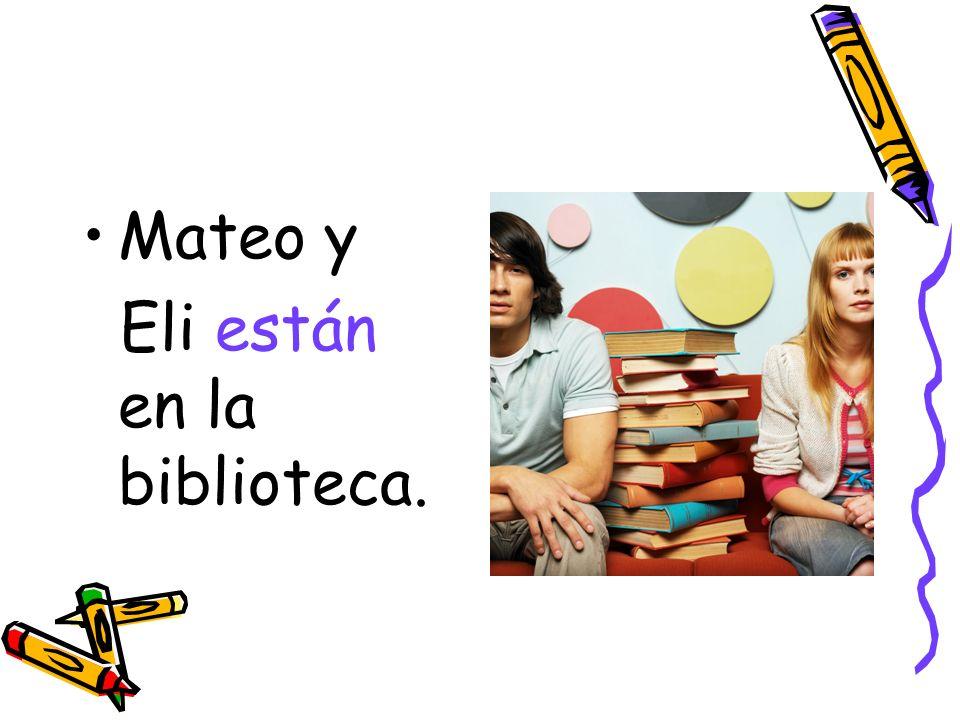 Mateo y Eli están en la biblioteca.