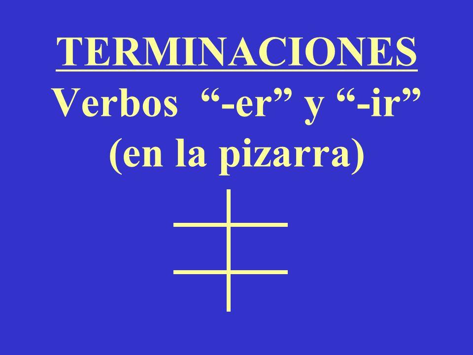 TERMINACIONES Verbos -er y -ir (en la pizarra)