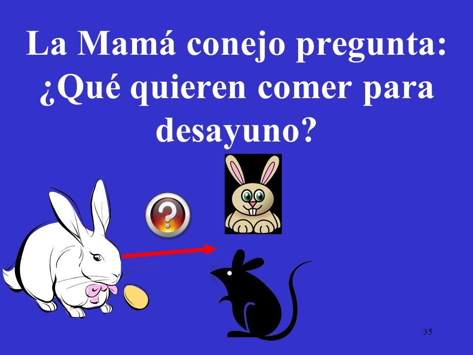 35 La Mamá conejo pregunta: ¿Qué quieren comer para desayuno?