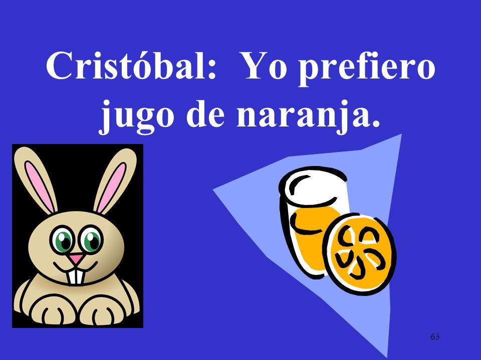 63 Cristóbal: Yo prefiero jugo de naranja.