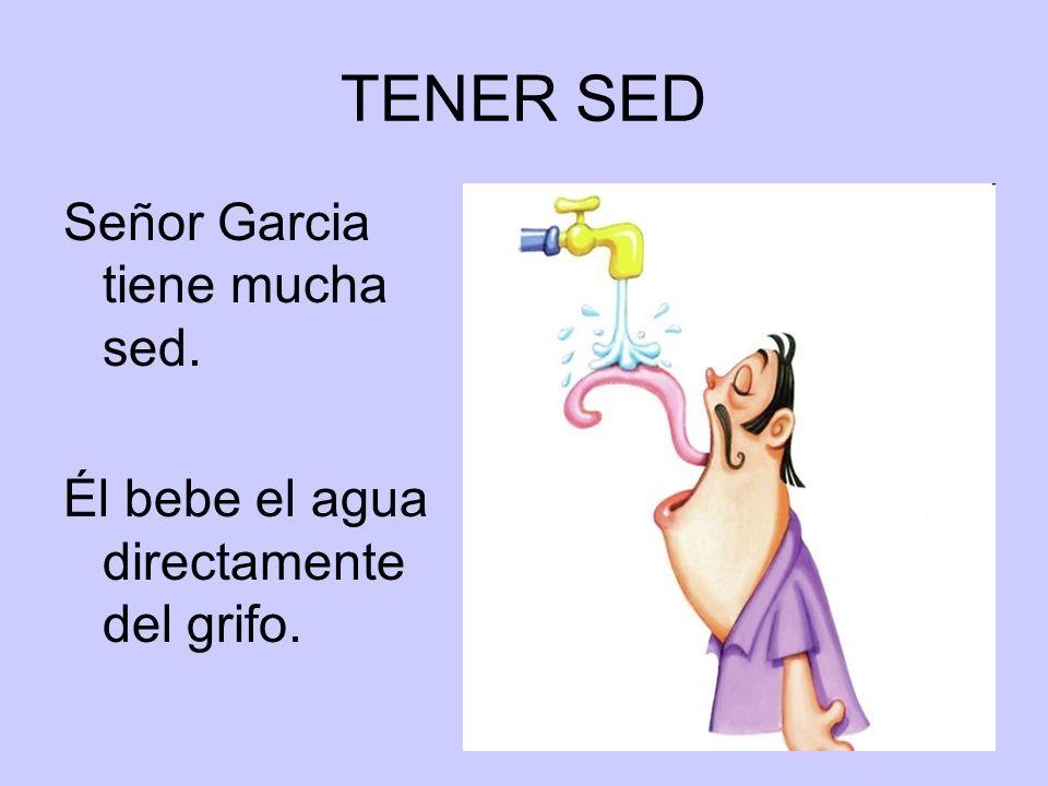 TENER SED Señor Garcia tiene mucha sed. Él bebe el agua directamente del grifo.
