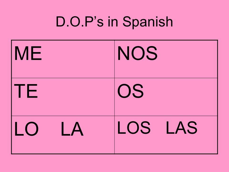 D.O.Ps in Spanish MENOS TEOS LO LA LOS LAS