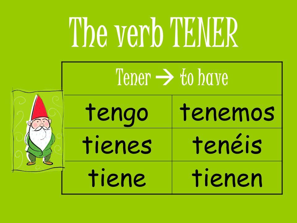 Formulas with Tener TENER que + Inf (to have to) EX: Tengo que estudiar para mantener buenas notas.