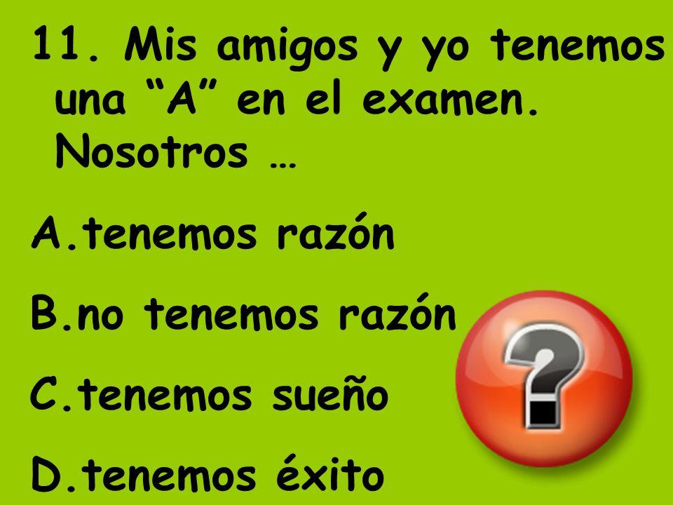 11. Mis amigos y yo tenemos una A en el examen. Nosotros … A.tenemos razón B.no tenemos razón C.tenemos sueño D.tenemos éxito