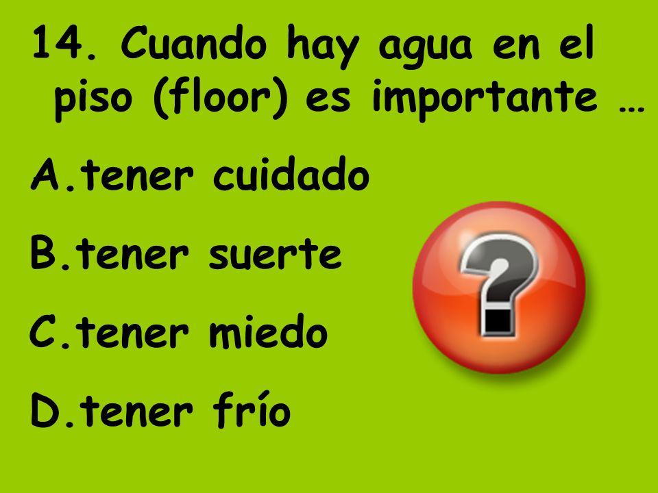 14. Cuando hay agua en el piso (floor) es importante … A.tener cuidado B.tener suerte C.tener miedo D.tener frío