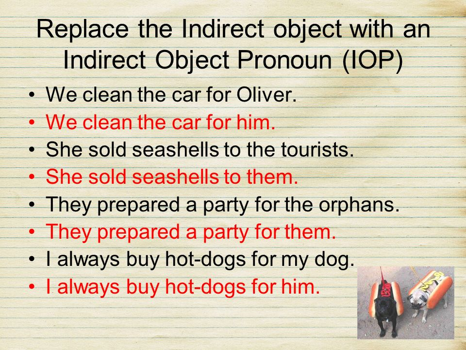 En Español… We will do the same thing, replace indirect objects with pronouns.