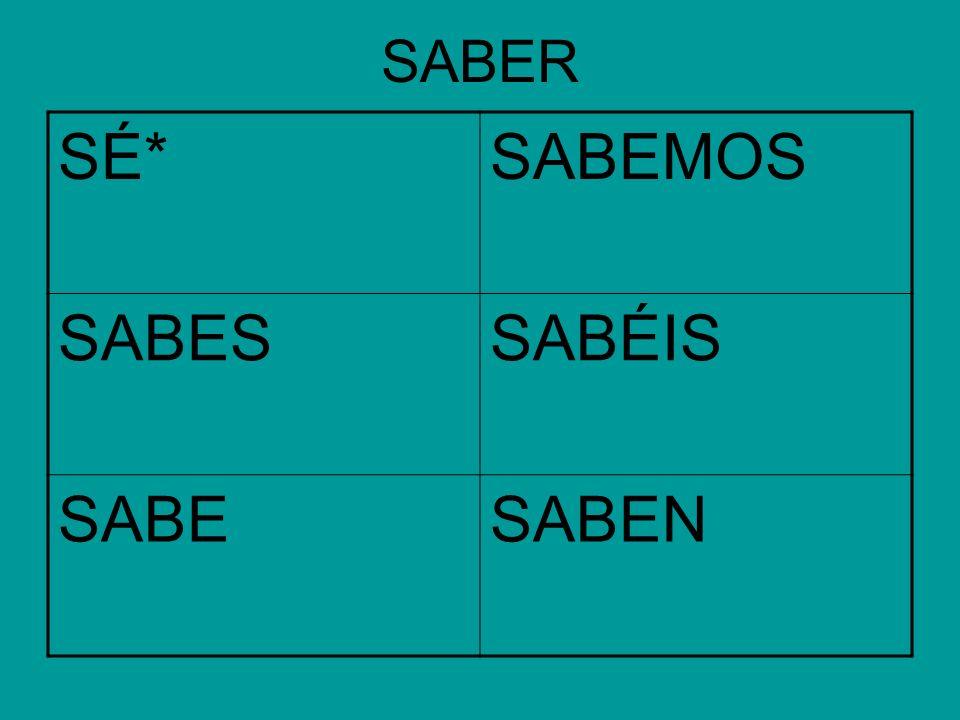 SABER SÉ*SABEMOS SABESSABÉIS SABESABEN