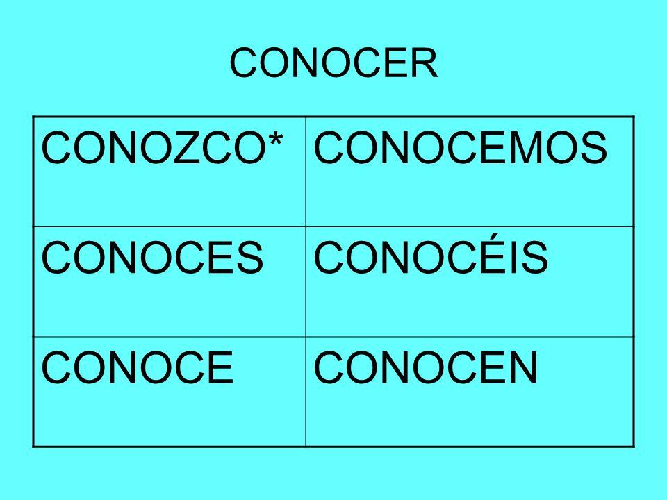 CONOCER CONOZCO*CONOCEMOS CONOCESCONOCÉIS CONOCECONOCEN