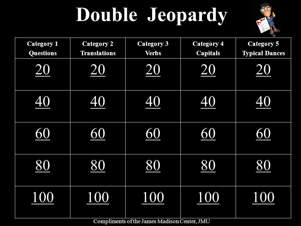 Double Jeopardy Category 1 Questions Category 2 Translations Category 3 Verbs Category 4 Capitals Category 5 Typical Dances 20 40 60 80 100 Compliment