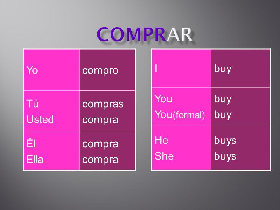 Yocompro Tú Usted compras compra Él Ella compra Ibuy You You (formal) buy He She buys