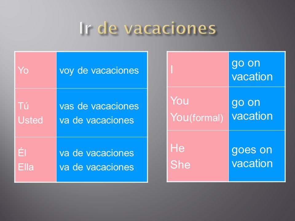 Nosotros vamos de vacaciones Ustedes van de vacaciones Ellos Ellas van de vacaciones We go on vacation You go on vacation They go on vacation