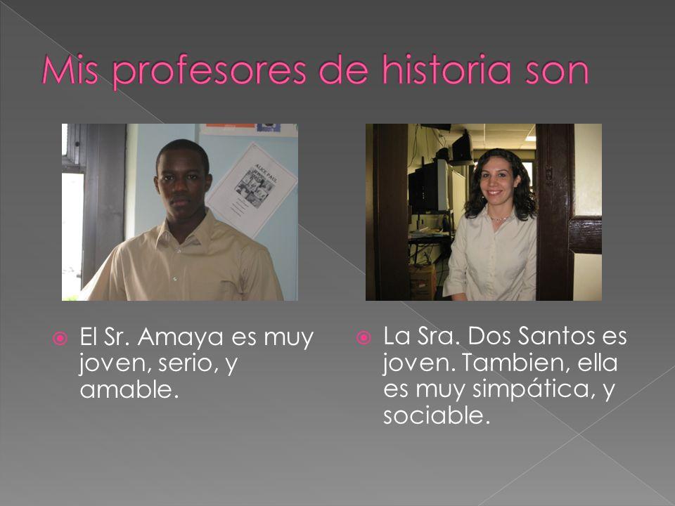 El Sr. Amaya es muy joven, serio, y amable. La Sra. Dos Santos es joven. Tambien, ella es muy simpática, y sociable.