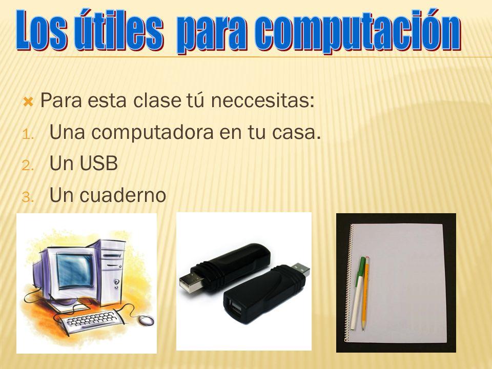 Para esta clase tú neccesitas: 1. Una computadora en tu casa. 2. Un USB 3. Un cuaderno