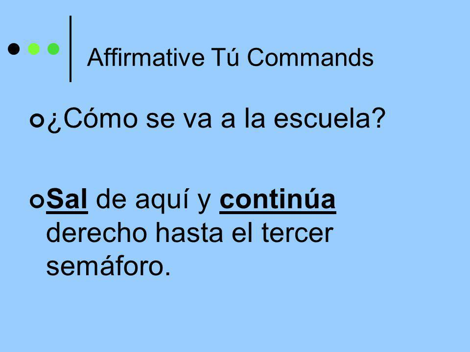 Affirmative Tú Commands Hacer, Ser, and Ir have irregular tú command forms that must be memorized: haz, sé, ve