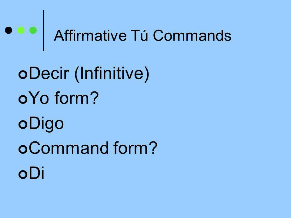 Affirmative Tú Commands Decir (Infinitive) Yo form? Digo Command form? Di