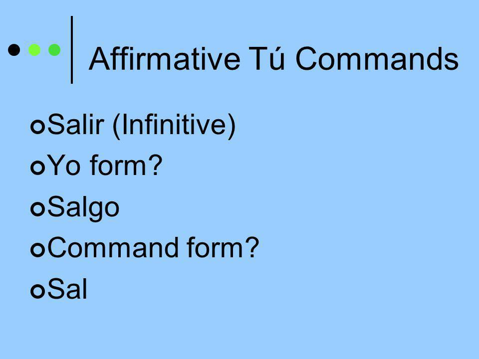 Affirmative Tú Commands Decir (Infinitive) Yo form Digo Command form Di