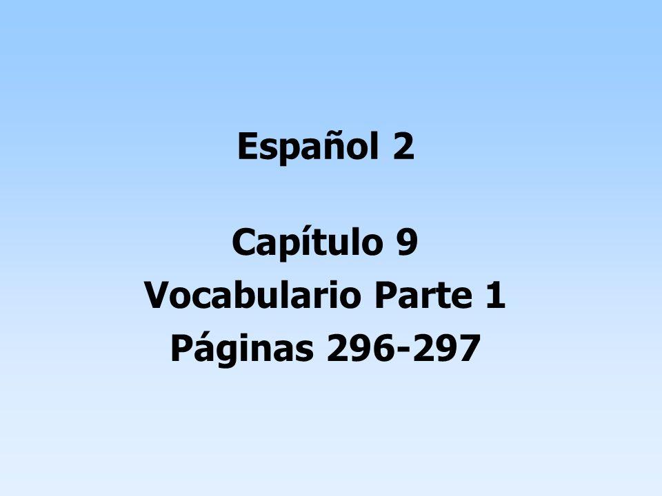 Español 2 Capítulo 9 Vocabulario Parte 1 Páginas 296-297