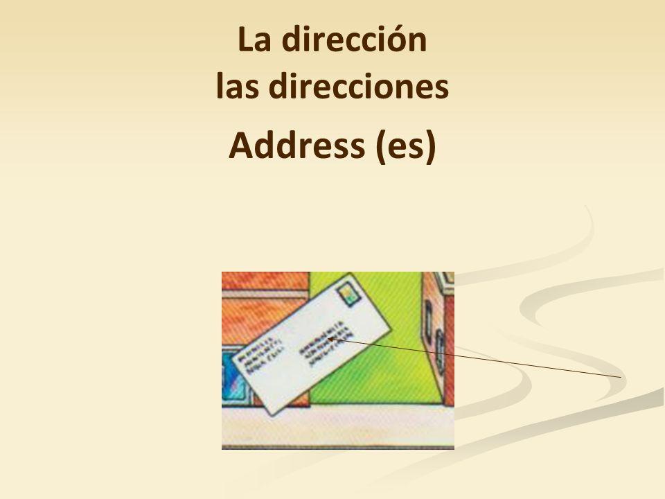 La dirección las direcciones Address (es)