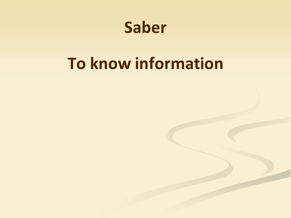 Saber To know information