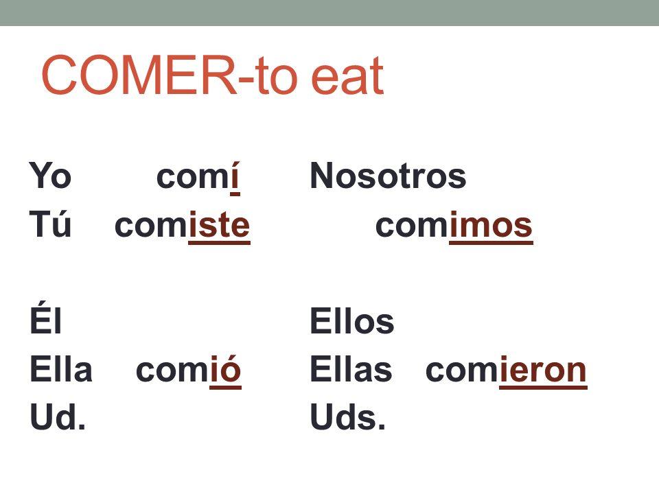 COMER-to eat Yo comí Tú comiste Él Ella comió Ud. Nosotros comimos Ellos Ellas comieron Uds.